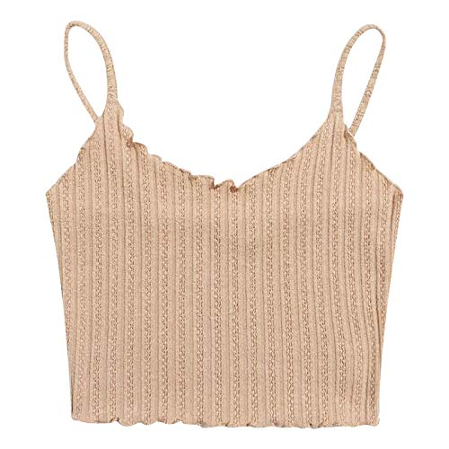 Mortilo Women Tops, Soft and Versatile Sleeveless Sexy Wild Pullover Vest (Beige A,XS)