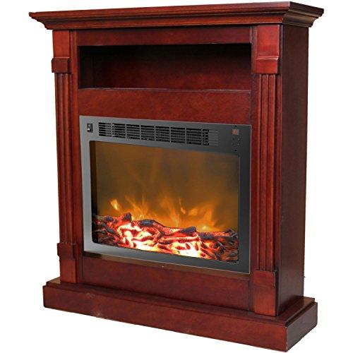 Mahogany Gel Fuel Fireplace (Cambridge Sienna Fireplace Mantel with Electronic Fireplace Insert, Mahogany)