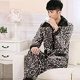 LJ&L Lamb velvet leopard couple breathable pajamas suit comfort underwear pajamas,Men,S