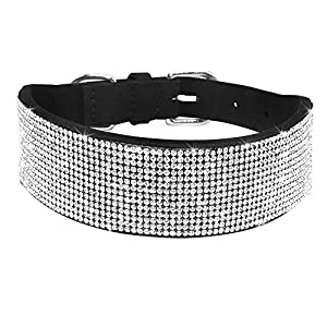 Didog Rhinestone Dog Collar - Made of Soft Velvet Colored Material - Suit for Girl or Female Medium Large Dog Breeds