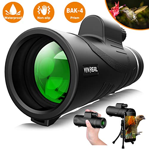 Monocular Telescope - 12X50 High Power 【HD Monocular for Bird Watching】 with Smartphone Holder & Tripod IPX7 Waterproof Monocular Made by Hyper FMC BAK4 Prism & Eco-Friendly Materials (Best Compact Travel Zoom Camera 2019)