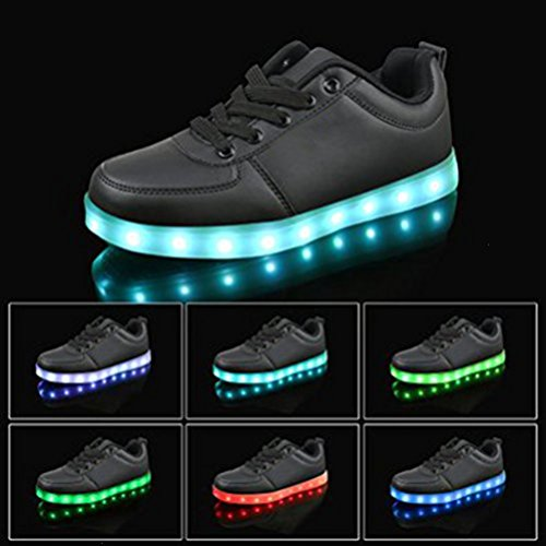 (Present:small towel)JUNGLEST 7 Colors USB Charging LED Light Flashing Shoes for Lovers Boys Black hQEeNnQp8