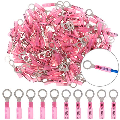 Hilitchi 50Pcs Nylon Heat Shrink Ring Insulated Terminals Electrical Wire Crimp Connector (22-16AWG, 5/16'')