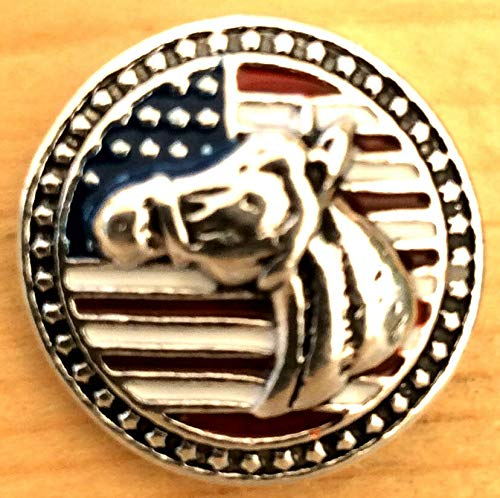 Snap.Chunk Button 20mm Horse National Flag Charm for Ginger Snap Style Jewelry SE-476 ()