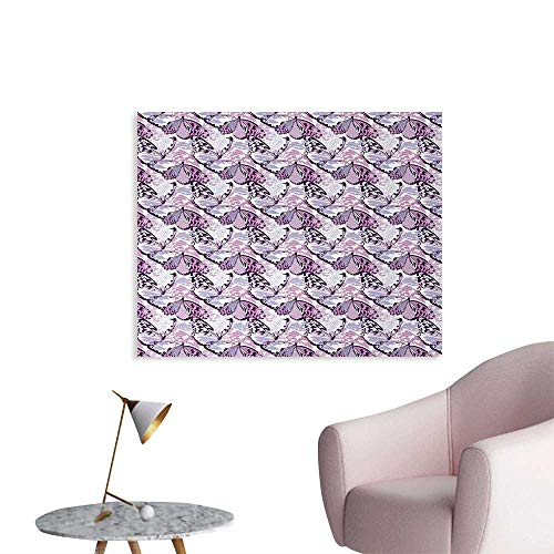 Tudouhoho Butterfly Cool Poster Artistic Wings in The Shades of Purple with Spotty Grunge Camo Style Photographic Wallpaper Lavender Lilac Violet W36 xL32