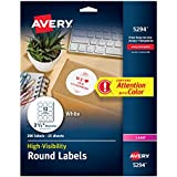 """Avery Print-to-the Edge High-Visibility 2.5"""" Round Labels, 300 Pack (5294)"""