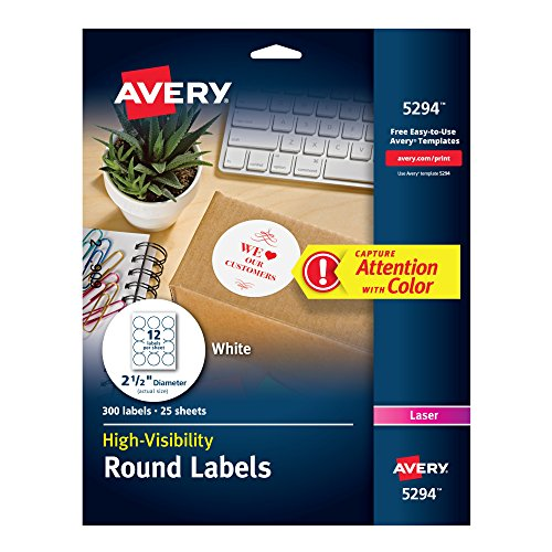 Laser Round Labels Large (Avery Print-to-the Edge High-Visibility 2.5