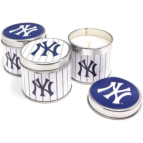 - New York Yankees 3 Piece Warm Scented Candles, Vanilla