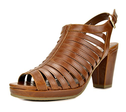 TOETOS DIANE-02 New Women's Gladiator Strap Open Toes Mid Chunky Heels Platform Dress Sandals TAN Size 10
