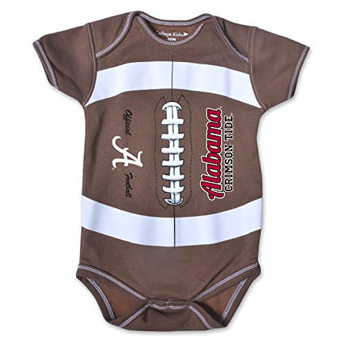 Alabama Baby Clothes (NCAA Alabama Crimson Tide Kids MVP Football Bodysuit, 12 Months, Brown)