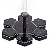 LUCKYDIY Solar Fountain, Solar Powered Bird Bath Fountain Pump 1.5W Solar Panel Kit Water Pump Small Pond Garden and Lawn