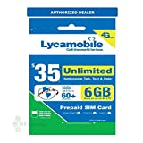Lycamobile 35 Plan 1st Month Included SIM Card is Triple Cut Unlimited Natl Talk & Text to US and 60+ Countries 6GB Of 4G LTE