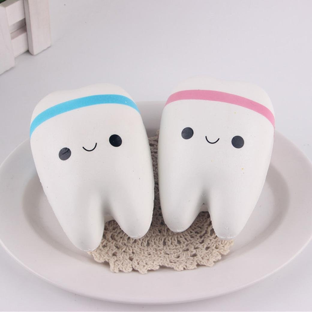 toy,SUPPION New Cute Creative Smiley Tooth Very Soft Slow Rising Squeeze Rare Kids Toy(1pc Random Color)