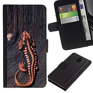 Billetera de Cuero Caso del tirón Titular de la tarjeta Carcasa Funda del zurriago para Samsung Galaxy Note 3 III N9000 N9002 N9005 / Business Style gecko lizard venom animal wood tropical