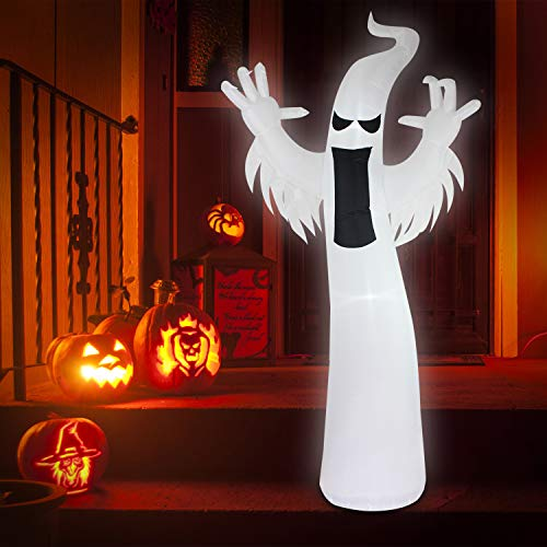 Fanshunlite Halloween 8 FT Lighted Inflatable White Ghost LED Lights Yard Lawn Art Indoor Outdoor Prop Decoration,Giant Lawn Inflatables Holiday Decorations -