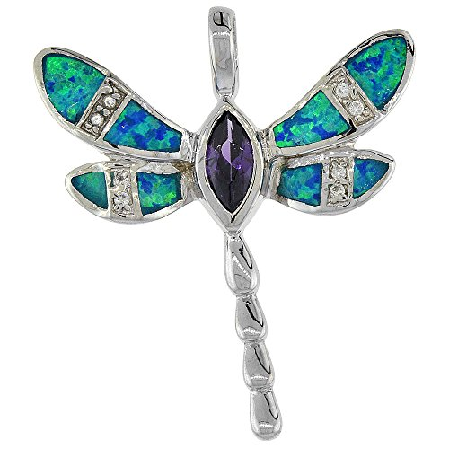 Sterling Silver Synthetic Opal Dragonfly Pendant Hand Inlay Amethyst CZ 5x9 mm Marquise cut 1 5/16 inch