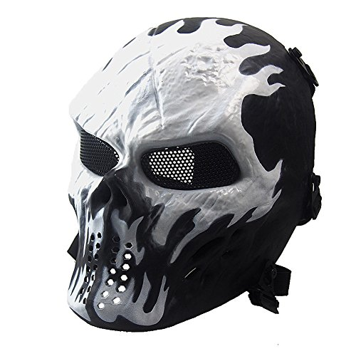 NINAT Airsoft Skull Masks Full Face - Tactical Mask Eye Protection for CS Survival Games BBS Shooting Masquerade Halloween Cosplay Movie Props Zombie Scary Skeleton Masks Wildfire]()