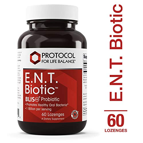 (Protocol For Life Balance - E.N.T. Biotic BLIS K12 Probiotic - Promotes Healthy Oral Bacteria, Fresher Breath, Throat Health, and Immuno Response Support - 60 Lozenges)