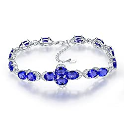 White Gold Genuine Diamond Tanzanite Bracelets