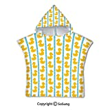 Rubber Duck Toddler Hooded Beach Bath Towel,Yellow Duckies with Blue Stripes and Small