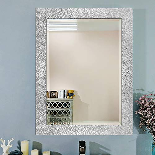 Large Rectangular Wall Mirror with White Cobblestone Frame Design/Premium Beveled 1-Inch Silver -