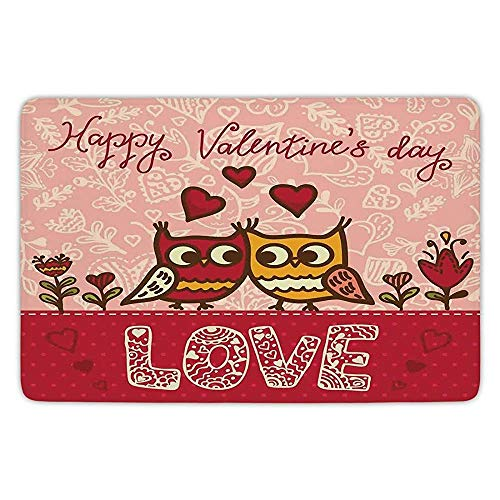 Ruandian Bathroom Bath Rug Kitchen Floor Mat Carpet,Valentines Day,Owls in Love Print Cute Partners Couples Boho Style Hearts Flowers Dots,Pink Red Yellow,Flannel Microfiber Non-Slip Soft Absorbent