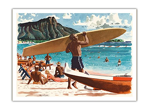 Waikiki Beach, Hawaii - Hawaiian Surfer, Diamond Head Crater - United Air Lines - Vintage Airline Travel Poster by Fred Ludekens c.1950s - Premium 290gsm Giclée Art Print 12in x ()