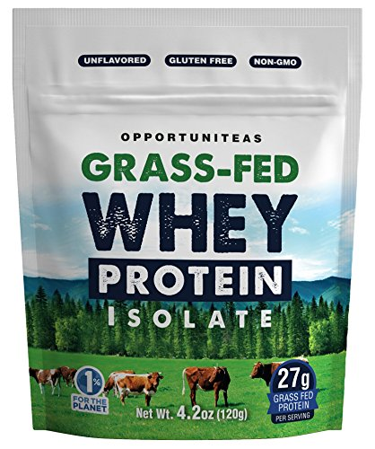 Grass Fed Whey Protein Powder Isolate - Unflavored + Cold Processed + Undenatured - Pure Wisconsin Grassfed Protein For A Shake, Smoothie, Drink, or Food - Natural + Non GMO + No Gluten - 4.2 oz