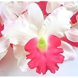 "(8) White Red Hawaiian Cattleya Silk Flower Heads - 3.5"" - Artificial Flowers Heads Fabric Floral Supplies Wholesale Lot for Wedding Flowers Accessories Make Bridal Hair Clips Headbands Dress"