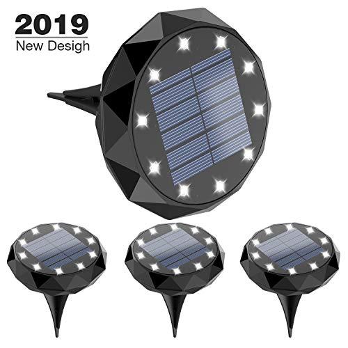 Leknes Solar Ground Lights,Upgrade 10 LED Solar Powered Solar Garden Lights Solar Disk Lights Outdoor Waterproof Solar Landscape Lighting Auto on/Off with Sensor for Patio Pathway Garden Lawn Yard ()