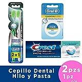 CREST + ORAL-B Pasta de Dientes ProSalud de 75 ml, 2 x Cepillos Ultra Fino Pasta y Hilo Dental Esencial Floss