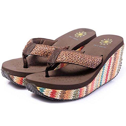 Flip Flops Havaianas Damen High Heels Sommer Brown