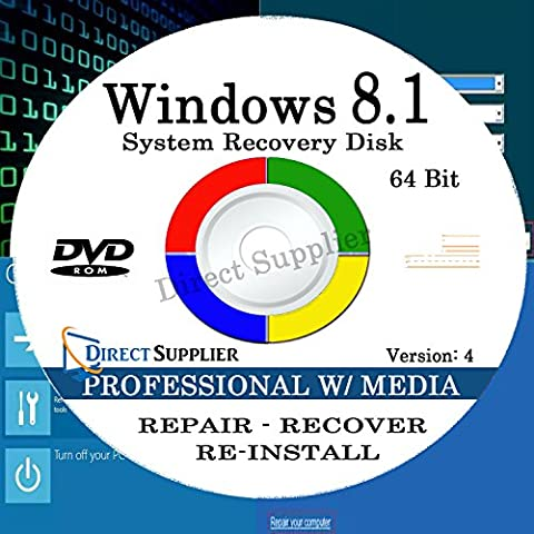 WINDOWS 8.1 - 64 Bit DVD SP1, Supports PROFESSIONAL with MEDIA CENTER. Recover, Repair, Restore or Re-install Windows to Factory Fresh!