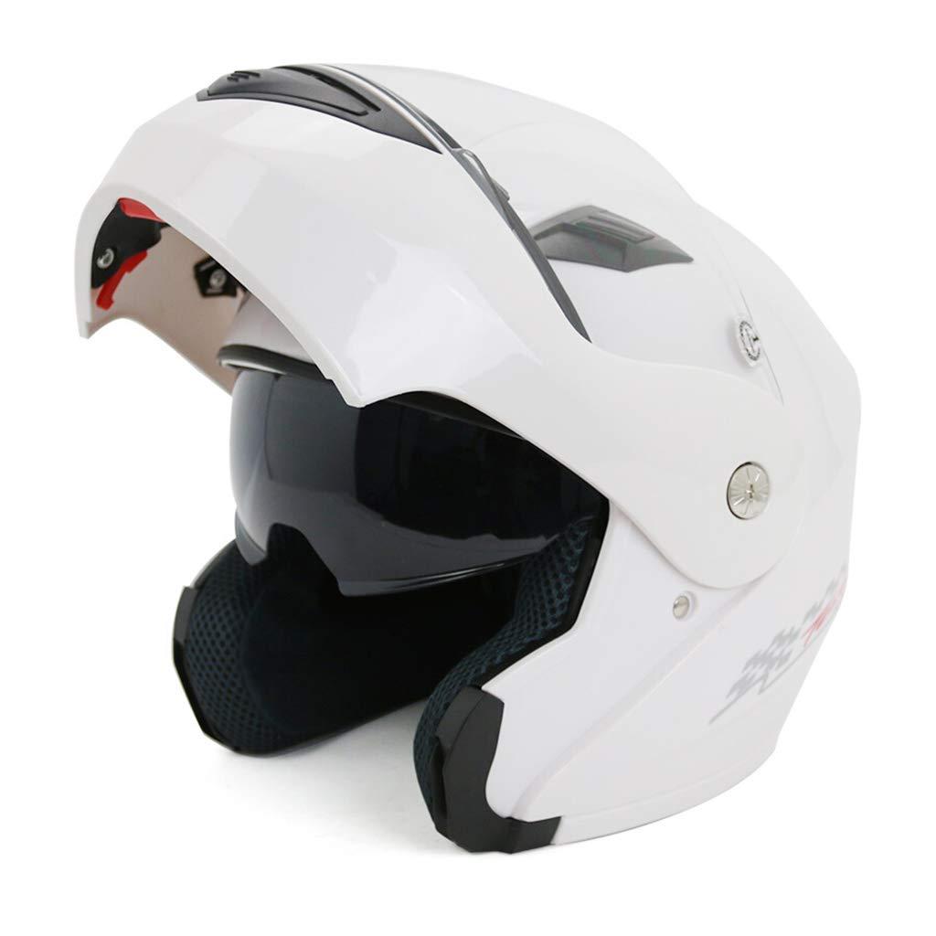 GWM フルフェイスレーシングバイクヘルメット、防風、軽量で 快適なスキー用品、男性用と女性用の半ヘルメット、レトロファッションフルフェイスヘルメット (色 : 白, サイズ さいず : XXL) 白 XX-Large