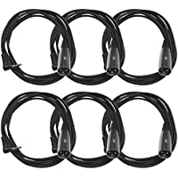 Seismic Audio - SA-iSTXMOX6-6Pack - 6 Pack of 6 Foot Right Angle Stereo 1/8 Inch TRS to XLR Male Patch Cables - DJ Patch Cords
