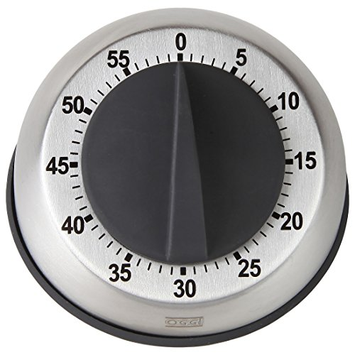 (HOME-X Stainless Steel Kitchen Timer, 60-Minute Dial, Modern Home Chef Tools (Gray))
