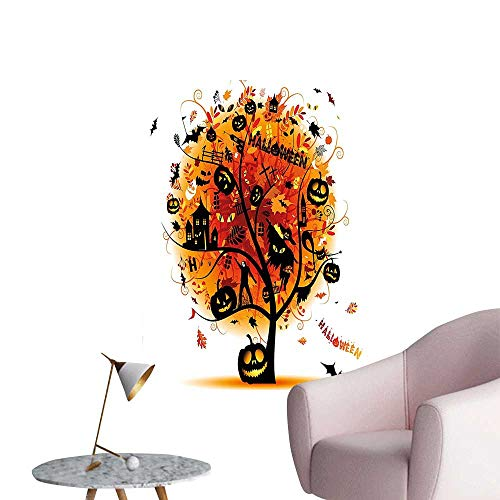 Modern Painting Distressed Horror Tree with Mystic Halloween Elements Skull Devil Scary Design Home Decoration,28