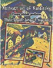 Abstract art of Kandinsky cross stitch pattern | Mini-small-large 3-size set: Houses at Murnau painting/ Bavaria landscape scenery/ counted cross stitch chart for adults