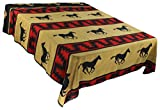 Splendid Exchange Southwestern Bedding Silhouette Collection, Mix and Match, Queen/Full Size Reversible Bedspread, Running Horse Tan and Black