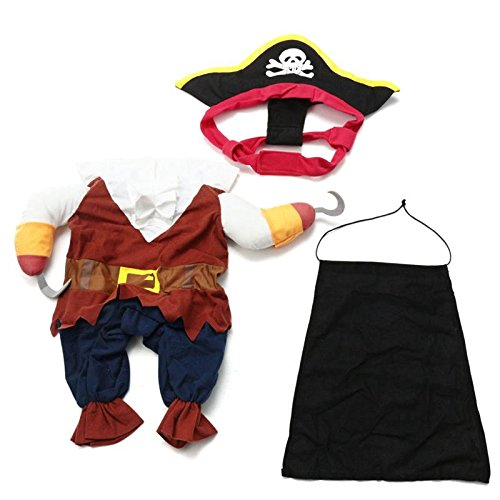 Funny Halloween Pet Dog Cat Pirate Clothes Costume Dress Costume Suit Outfit Cotton Apparel S with Skull Hat and Cape -