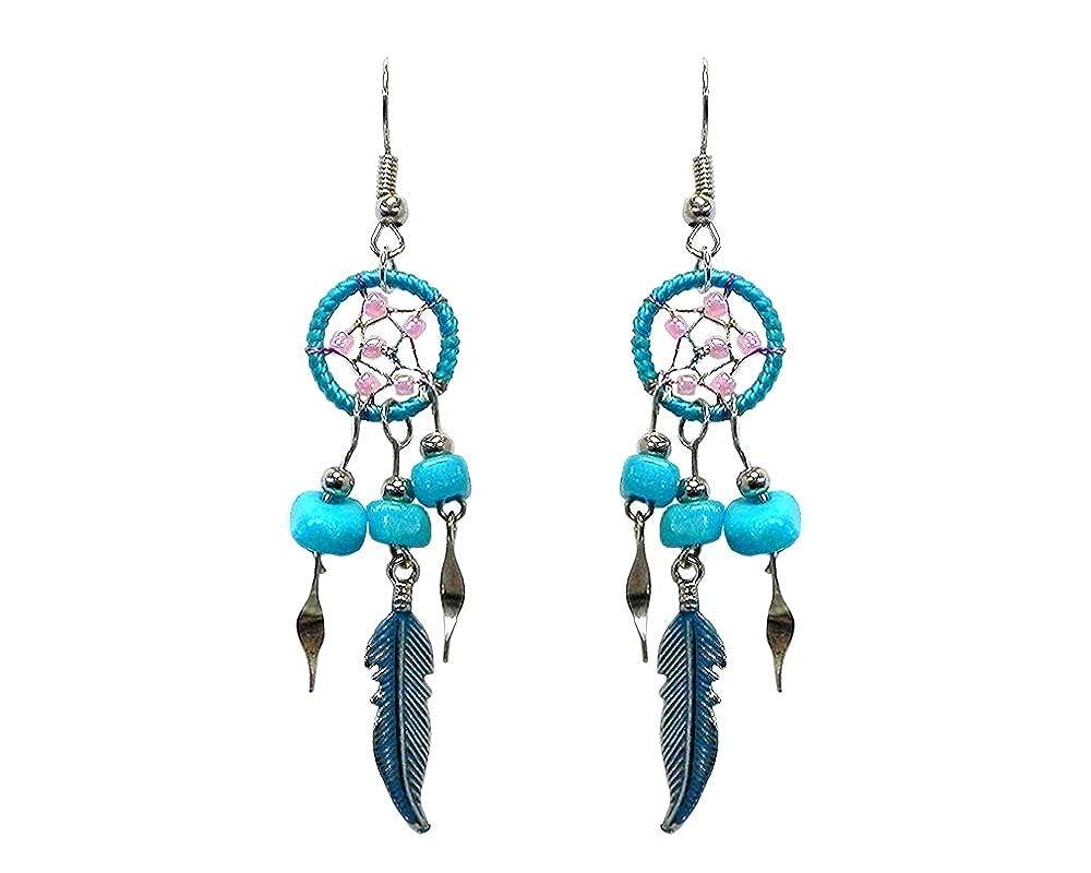 Mini Dream Catcher Chip Stone Feather Charm Dangle Earrings