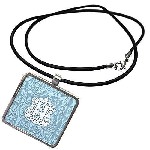 (3dRose Russ Billington Floral Sentiments - All You Need is Love- Pale Blue Floral Chintz Design- not Embossed - Necklace with Rectangle Pendant (ncl_311182_1))