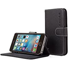 iPhone SE Case, Snugg Black Leather Flip Case [Card Slots] Executive Apple iPhone SE Wallet Case Cover and Stand - Legacy Series