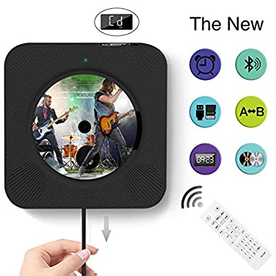 Portable Bluetooth CD Player, Wall Mountable Portable CD Player with Screen, Home Audio with Remote Control Built-in HiFi Speaker, USB Drive Player, MP3 3.5mm Headphone Jack & Aux Input/Output, Black