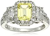 Sterling Silver Created Yellow Sapphire and Created White Sapphire Octagon Ring, Size 7