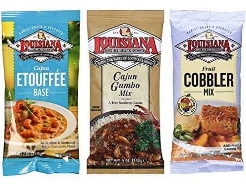 Louisiana Fish Fry Products 3 Flavor 6 Package Variety Bundle: (2) Lousiana Cajun Etouffee Base, (2) Louisiana Cajun Gumbo Base, and (2) Louisiana Fruit Cobbler Mix, 2.65-10.58 Oz. Ea. (6 Bags Total)