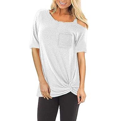 05dc7fcd9c8f0 Slim Vetement Femme Pas Cher a la Mode Mélange de Coton Tee t Shirt Manche  Courte
