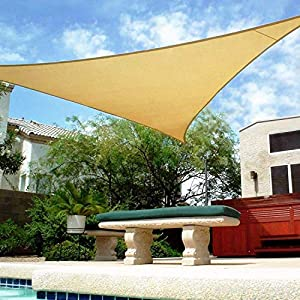 Shade&Beyond 16′ x 16′ x 16′ Sand Color Triangle Sun Shade Sail for Patio UV Block for Outdoor Facility and Activities