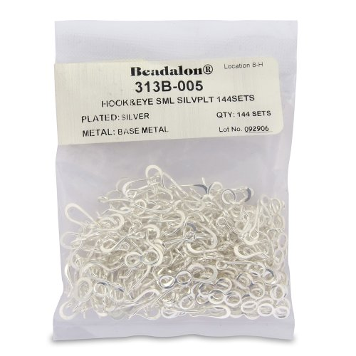 Beadalon RT934 Small Hook and Eye Clasps, Silver Plate, Set of 144