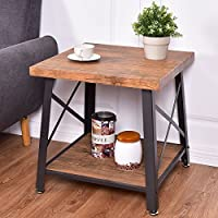 Industrial Chic Style Contemporary Farmhouse Wood Metal End Table With Bottom Shelf Living Room Furniture